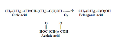 The reaction of unsaturated acids with ozone