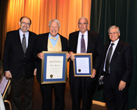 From left: Randy Wickett, PhD, 2009 vice president-elect of the SCC; Gary Agisim, 2009 president of the SCC; Jim Akerson, Merit Award winner; and Robert Lochhead, PhD, 2009 SCC vice president.