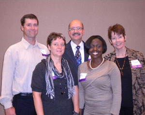 Speakers at the MWSCC 2011 Fall Technical Symposium, from left: Perry Romanowski; Jill Costa, PhD; Robb Akridge, PhD; Eunice Cofie; and Kathleen Martin. Not pictured: Farah Ahmed