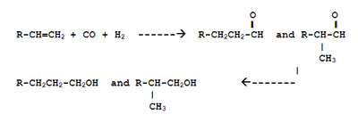 The reaction to produce oxo alcohol