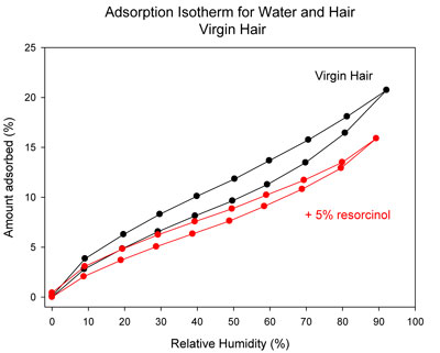 Adsorption and desorption isotherms for hair in 5% resorcinol vs. untreated control