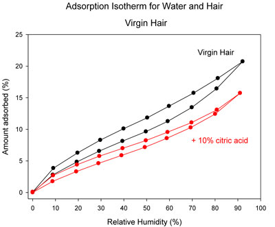Adsorption isotherm for hair in 10% citric acid vs. untreated control