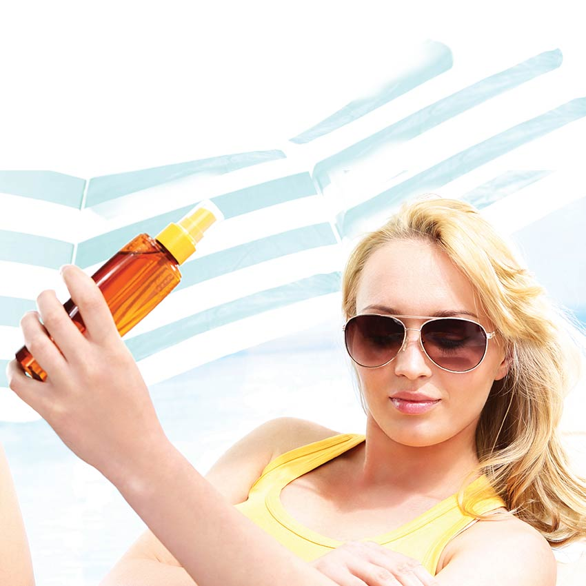 Woman with a sunscreen