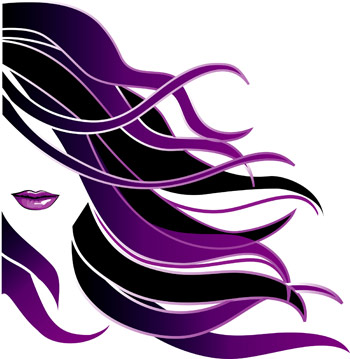 Illustration of woman with black and purple hair